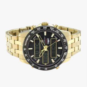 Chronograph Watch, Men's Watch, Accurist, Gold Plated, Black Dial, Analogue/Digital
