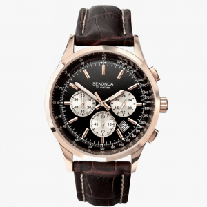 Sekonda, Men's Watch, Rose Gold Plated, Analogue Watch, Brown Leather, Chronograph