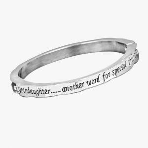 Jewellery Equilibrium, Sentiment Bangle, For Granddaughter, Women's, Silver Plated
