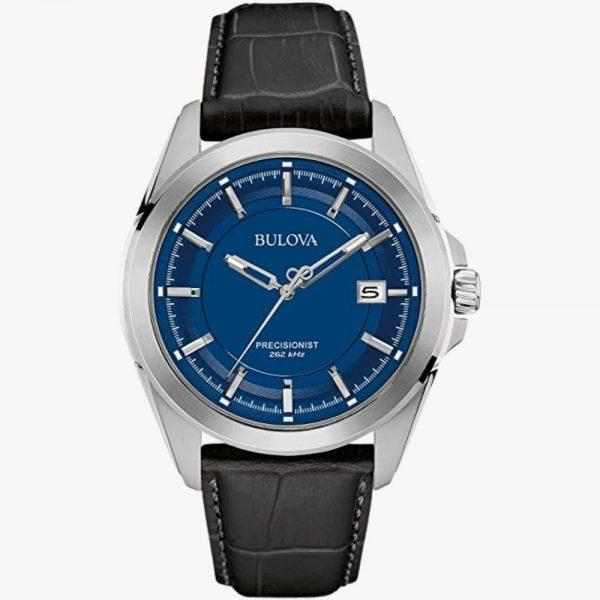 Bulova, Men's Watch, Precisionist, Stainless Steel, Black Leather Strap