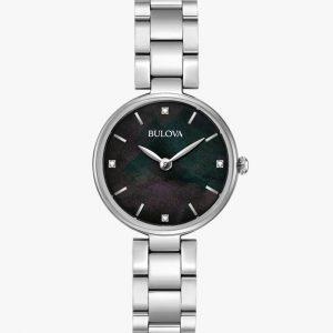 Bulova, Ladies Watch, Diamond, Stainless Steel, Analogue Watch, Black Dial