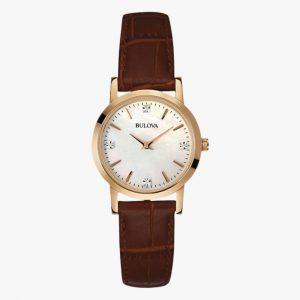 Bulova, Ladies Watch, Brown Leather, Rose Gold, Stainless Steel, Analogue Watch