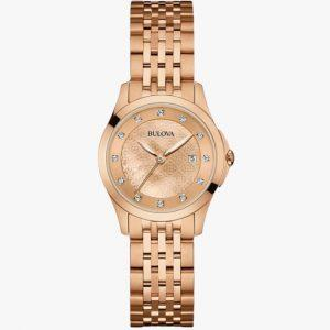 Bulova, Ladies Watch, Diamond, Stainless Steel, Analogue Watch, Rose Gold, Rose Plated