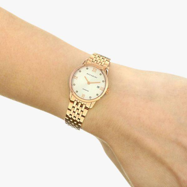 Rose Gold Plated, Stainless Steel, Diamond Watch, Accurist, Ladies Watch