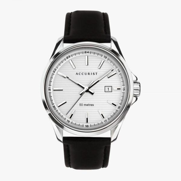 Stainless Steel, Men's Watch, Full Black Leather Strap, Analogue Watch, Accurist, White Dial