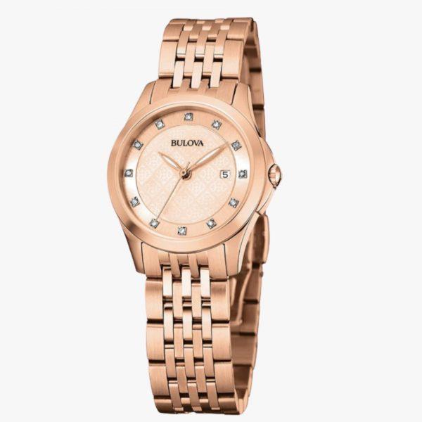 Bulova, Ladies Watch, Diamond, Stainless Steel, Analogue Watch, Rose Gold, Rose Plated