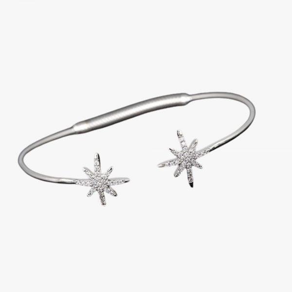 Equilibrium Jewellery, Celestial Glitz Stars Bangle, Women's, Silver Plated