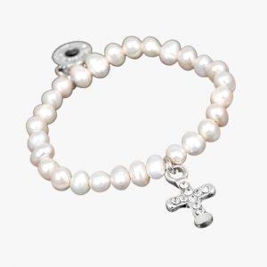 Equilibrium Jewellery Freshwater Pearl, Christening Bracelet, Silver Plated, Babies, Pearl Stone