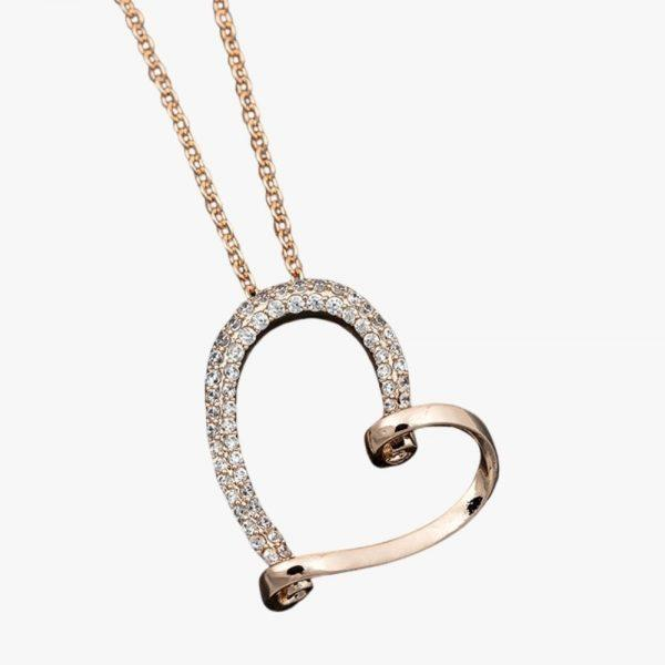 Equilibrium Jewellery looped rose gold heart necklace