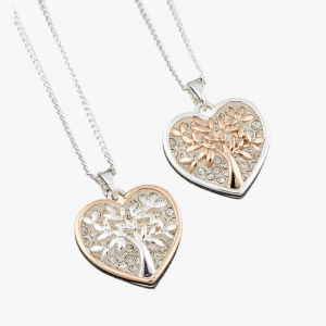 Equilibrium Jewellery silver rose gold tree of life necklace